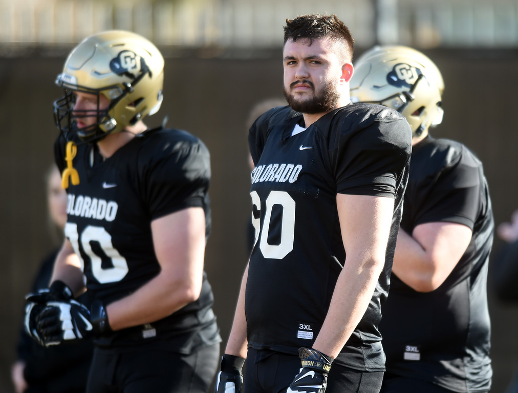 . Dillon Middlemiss, right, at practice on February 28, 2018. For more photos, go to Buffzone.com, Cliff Grassmick  Photographer  February 28, 2018