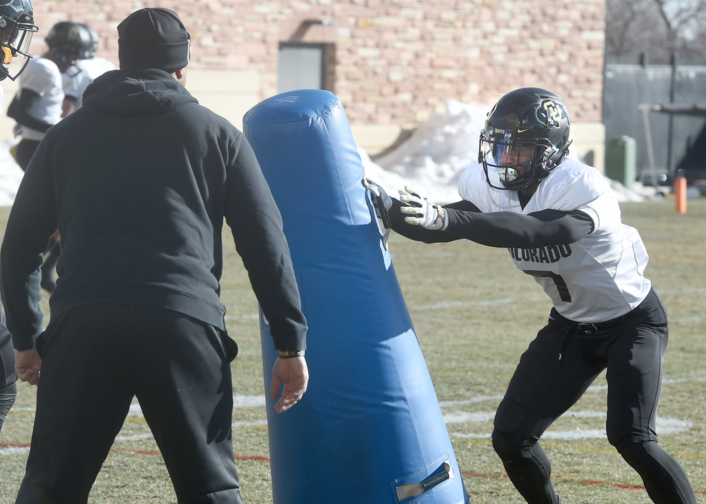 . Nick Fisher, right,  at the February 28, 2018 practice. For more photos, go to Buffzone.com, Cliff Grassmick  Photographer  February 28, 2018