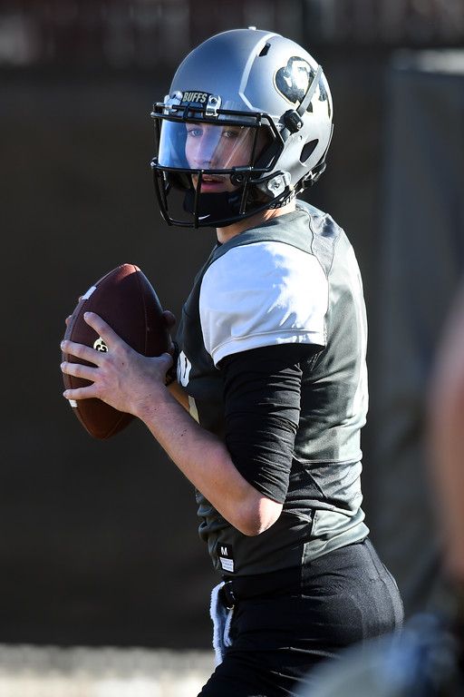 . Josh Goldin, QB,   at the February 28, 2018 practice.For more photos, go to Buffzone.com, Cliff Grassmick  Photographer  February 28, 2018