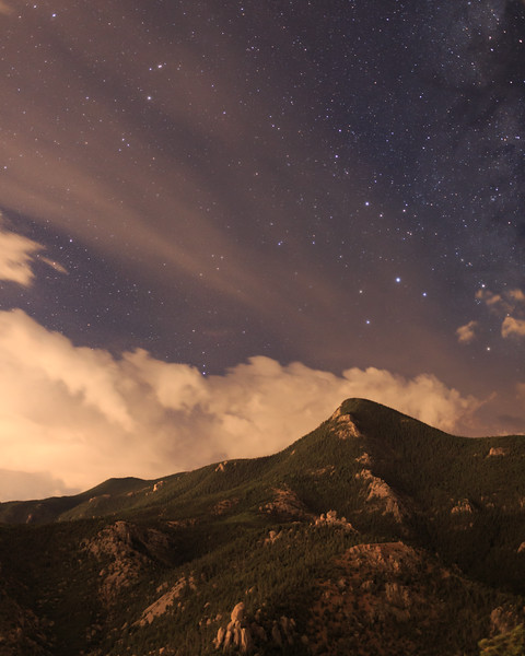 Cameron Cone with a hint of the galaxy, Manitou Springs.