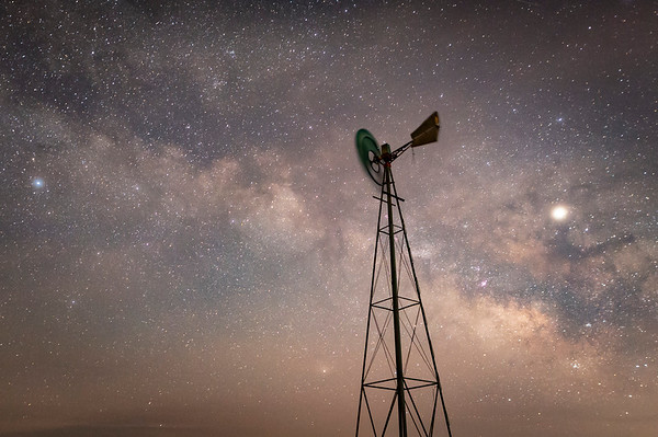 A lone windmill on the eastern plains of Hanover, CO.