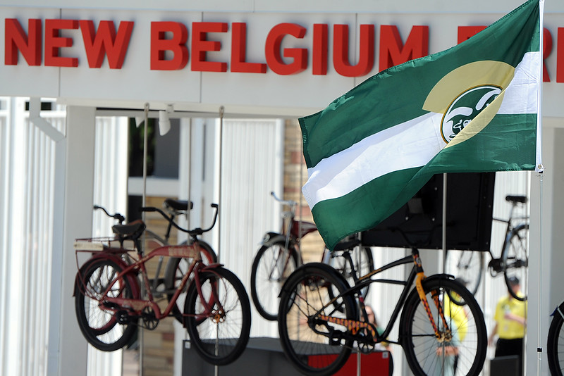 A Colorado State flag flies above the New Belgium Porch before the team's scrimmage Saturday, Aug. 4, 2018 at Canvas Stadium in Fort Collins, Colorado. (Sean Star/Loveland Reporter-Herald)