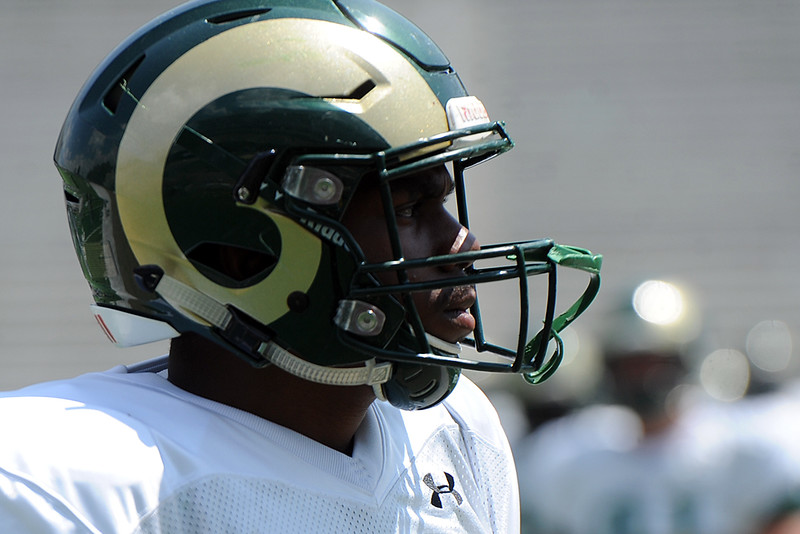 Colorado State defensive end Arjay Jean warms up before the team's scrimmage Saturday, Aug. 4, 2018 at Canvas Stadium in Fort Collins, Colorado. (Sean Star/Loveland Reporter-Herald)