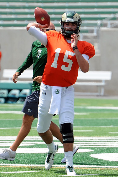 Colorado State quarterback Collin Hill throws a pass before the team's scrimmage Saturday, Aug. 4, 2018 at Canvas Stadium in Fort Collins, Colorado. (Sean Star/Loveland Reporter-Herald)