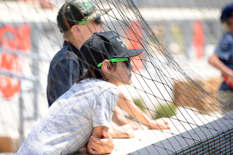 A couple of young fans wait for the Colorado State football team's scrimmage Saturday, Aug. 4, 2018 at Canvas Stadium in Fort Collins, Colorado. (Sean Star/Loveland Reporter-Herald)
