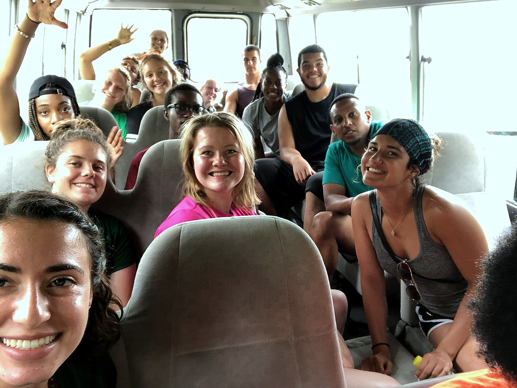 """. The CSU Green and Global group learned about \""""Jamaica time\"""" as they waited for the buses to take them to different locations. (CSU Green and Global)"""