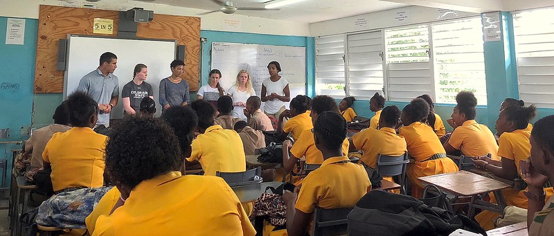 Adam Prentice, Veronica Morin, Marlee Brown, Sarah Muzik, Ally Murphy Pauletto and Jessica Jackson speak to a class of students at Petersfield High School in Jamaica. (CSU Green and Global)