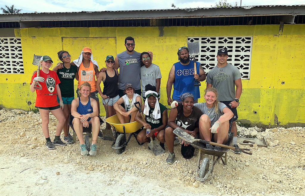 . While the goal of the CSU Green and Global program is centered around education, the two groups who have gone to Petersfield, Jamaica have mixed in some service work to the project. This trip, they helped spruce up a playground and lay a gravel surface for the facility. (CSU Green and Global)
