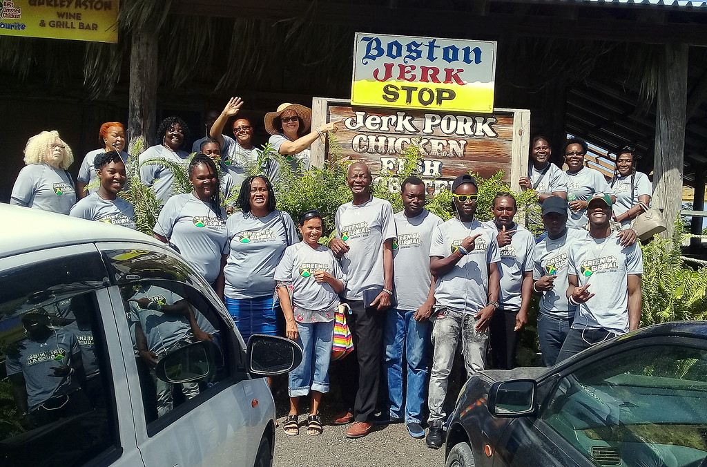 . People from the town of Petersfield wore their Green and Global shirts as they went on a tour that included a riverboat ride on June 30. (Mathias Brown)