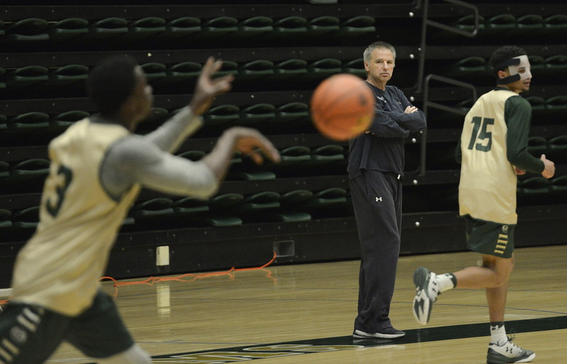 Larry Eustachy watches his team during a Colorado State men's basketball practice on Friday at Moby Arena.