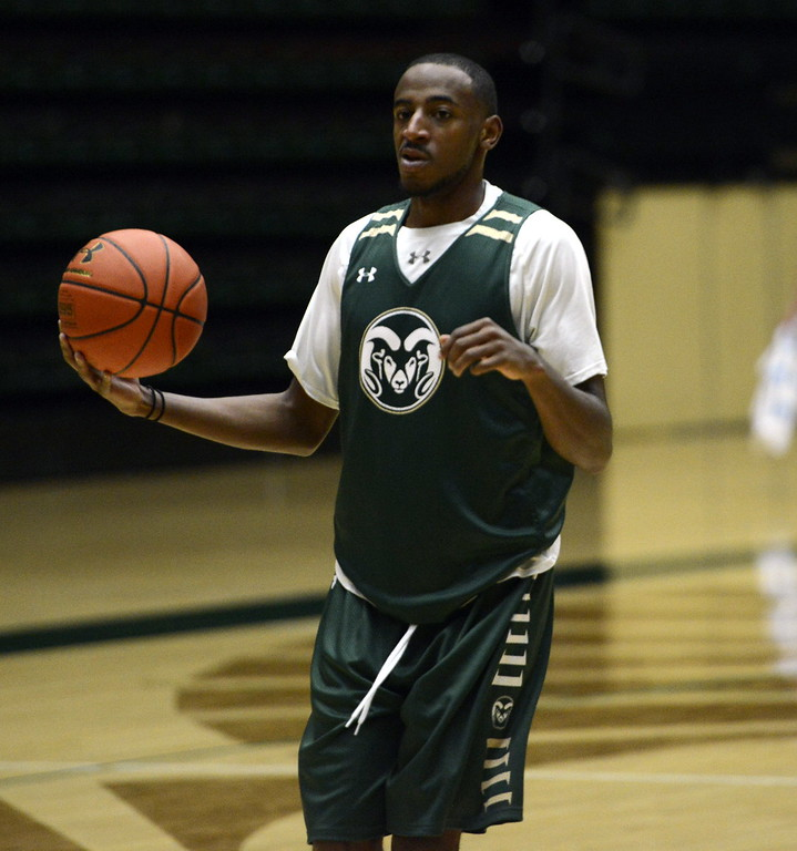 . J.D. Paige pulls up during a recent Colorado State men\'s basketball practice on Friday at Moby Arena.