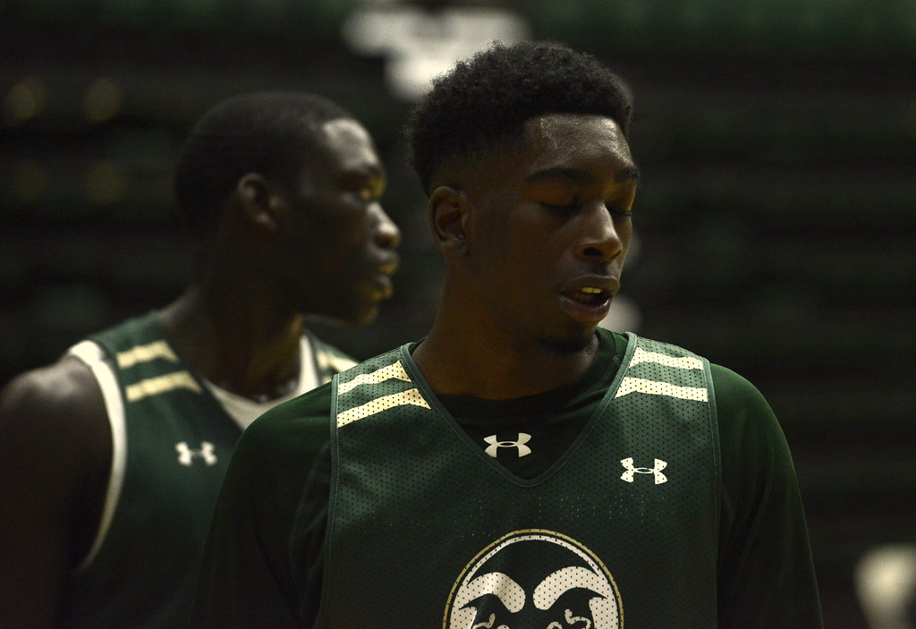 . Kris Martin takes a breather during a Colorado State men\'s basketball practice on Friday at Moby Arena.