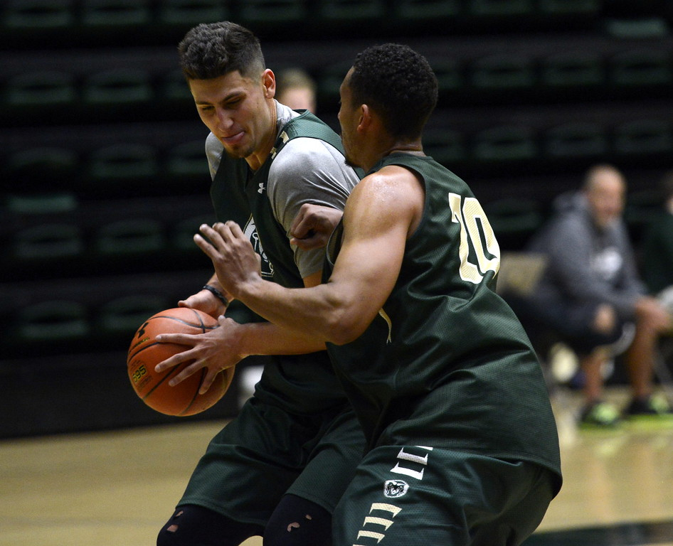 Nico Carvacho posts up against Deion James  during a Colorado State men's basketball practice on Friday at Moby Arena.