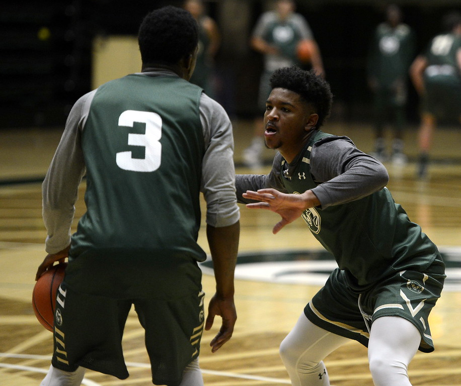 . Prentiss Nixon defends teammate Raquan Mitchell during a Colorado State men\'s basketball practice on Friday at Moby Arena.