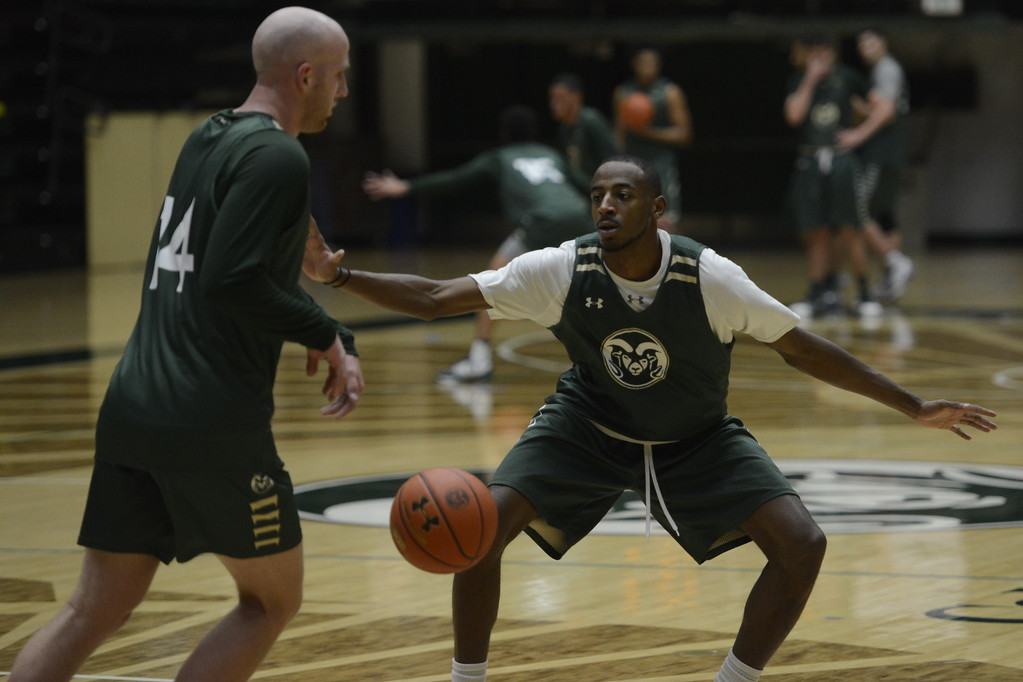 . J.D. Paige, right, defends teammate Robbie Berwick during a Colorado State men�s basketball practice on Friday at Moby Arena.