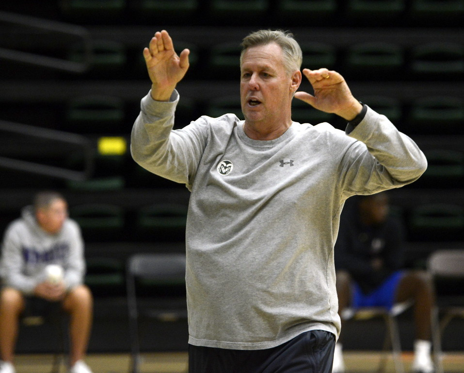 . Assistant coach Steve Barnes gives instruction during a Colorado State men\'s basketball practice on Friday at Moby Arena/