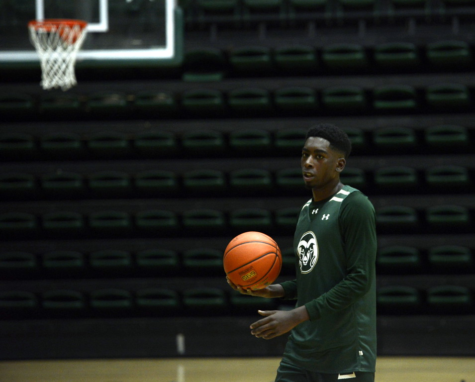 . Kris Martin pulls up his dribble during a Colorado State men\'s basketball practice on Friday at Moby Arena.