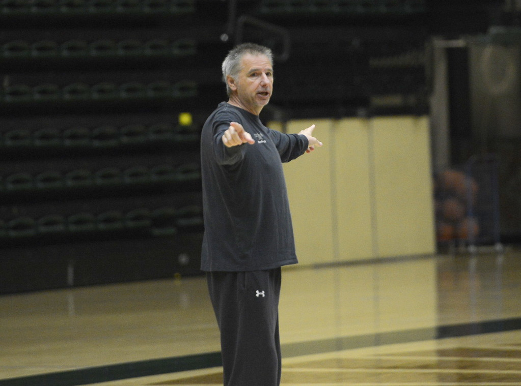 . Larry Eustachy instructs his team during a Colorado State men\'s basketball practice on Friday at Moby Arena.