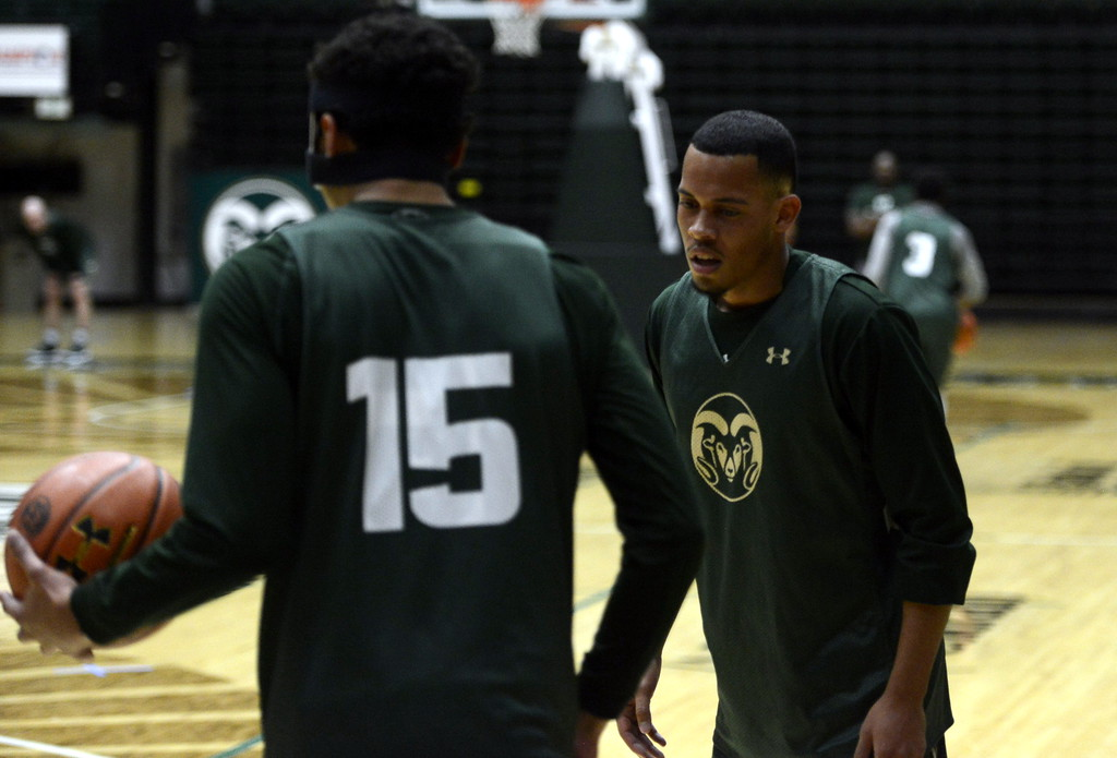 . Juan Sabino II defends teammate Anthony Bonner during a Colorado State men\'s basketball practice on Friday at Moby Arena.