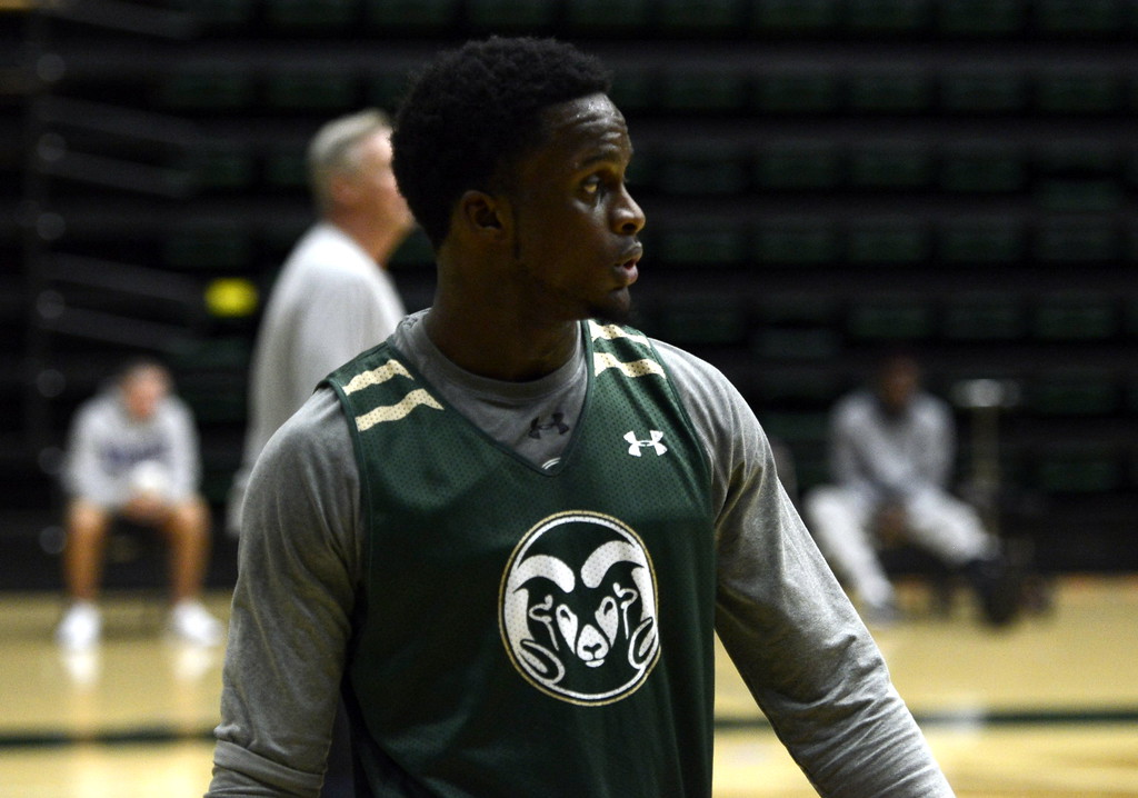 . Raquan Mitchell takes a breather during a Colorado State men\'s basketball practice on Friday at Moby Arena.