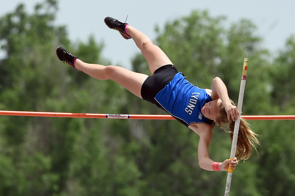 . Katie Fankhouser, of Lyons, was third in the 2A pole vault during Colorado State Track and Field in Lakewood on Friday. For more photos, go to BoCoPreps.com.  Cliff Grassmick / Staff Photographer/ May 18, 2018