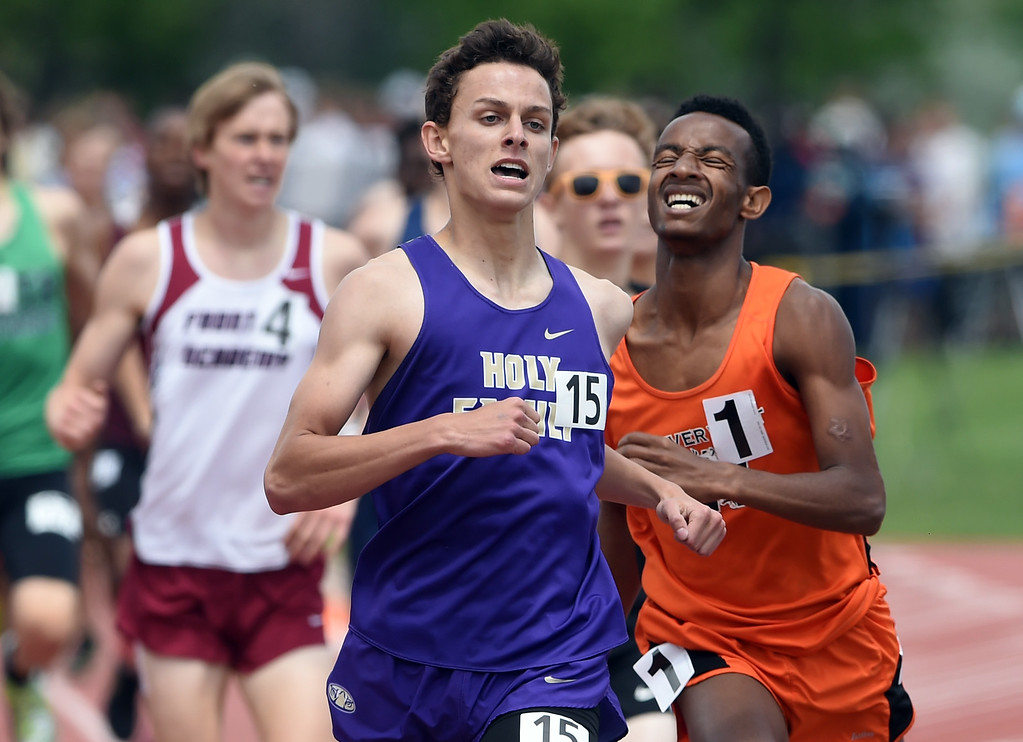 . Rasce Engelhardt, left, of Holy Family, beats out Yasin Sado, of Denver West in the 3A 800 meters during Colorado State Track and Field in Lakewood on Friday. For more photos, go to BoCoPreps.com.  Cliff Grassmick / Staff Photographer/ May 18, 2018