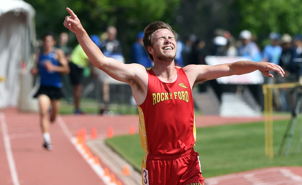 . Cody Danley, of Rocky Ford, wins the 2A 3200 meters during Colorado State Track and Field in Lakewood on Friday. For more photos, go to BoCoPreps.com.  Cliff Grassmick / Staff Photographer/ May 18, 2018