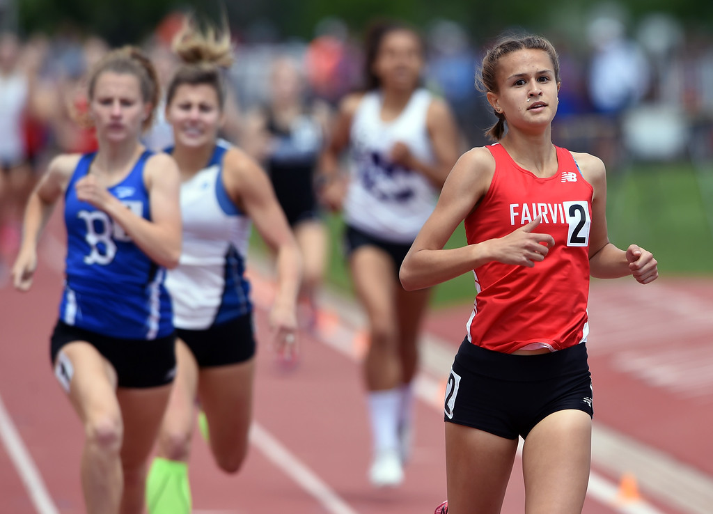 . Marlena Preigh, of Fairview, wins the 5A 800 meters during Colorado State Track and Field in Lakewood on Friday. For more photos, go to BoCoPreps.com.  Cliff Grassmick / Staff Photographer/ May 18, 2018