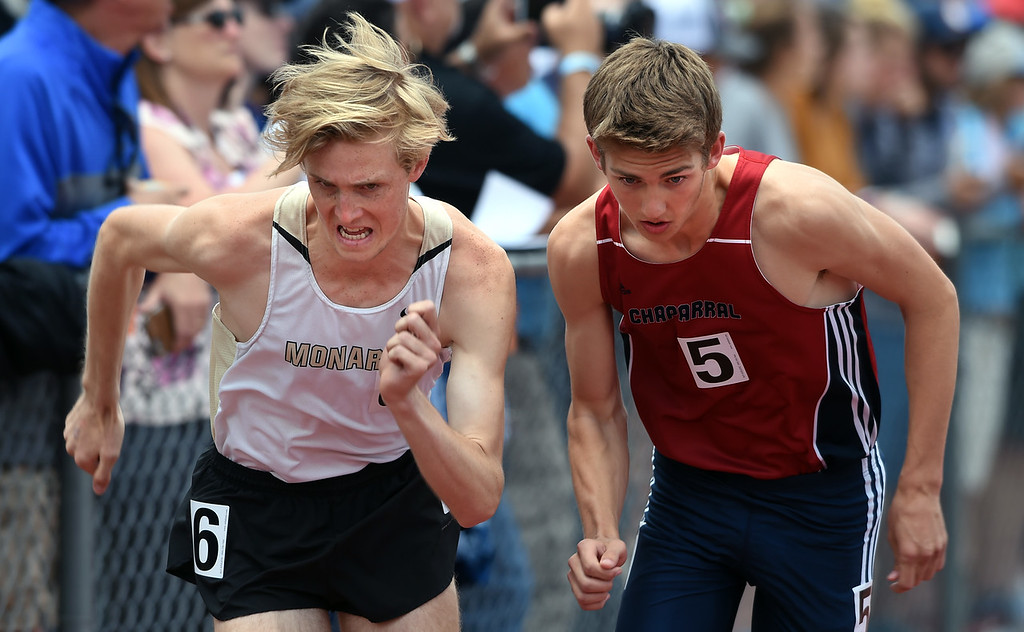 . William Dixon, left, of Monarch, and Caleb Ream, of Chaparral, start the 5A 800 meters during Colorado State Track and Field in Lakewood on Friday. For more photos, go to BoCoPreps.com.  Cliff Grassmick / Staff Photographer/ May 18, 2018