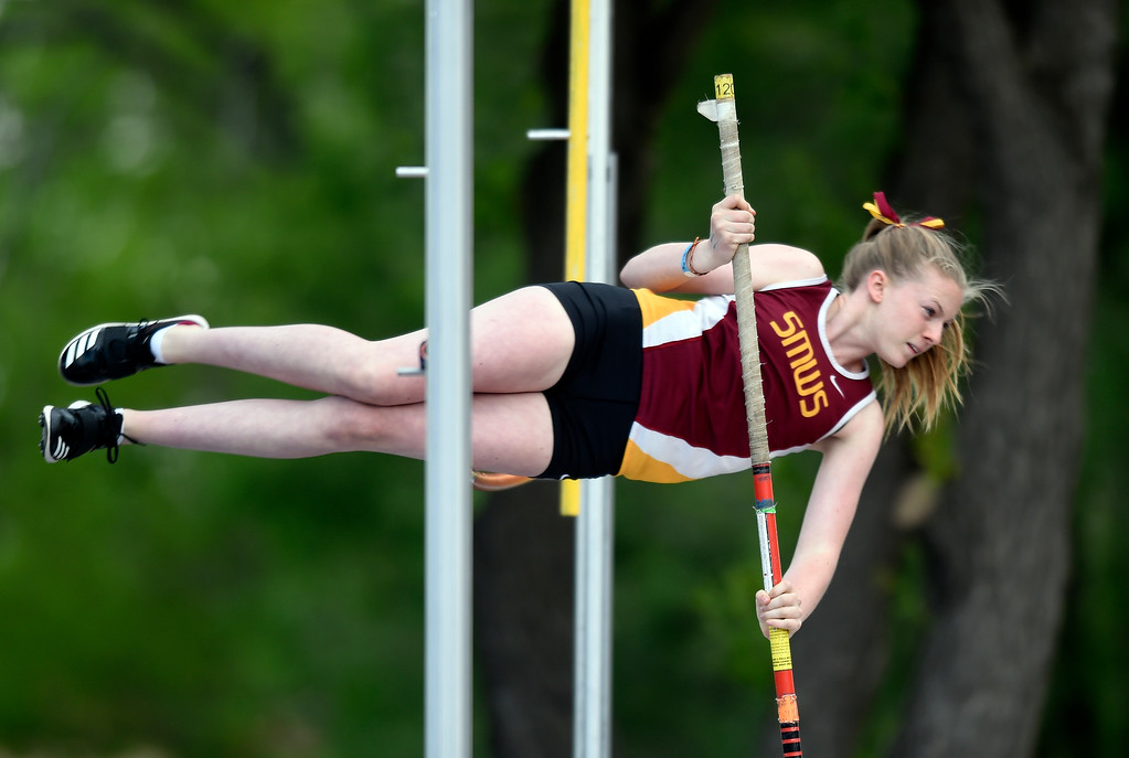 . Shining Mountain Waldorf School\'s Grace Remmert performs during the girls 2A pole-vaulting event during the CHSAA State Track & Field Championships on Thursday at the Jeffco Stadium in Lakewood. More photos: BoCoPreps.com Jeremy Papasso/ Staff Photographer 05/17/2018