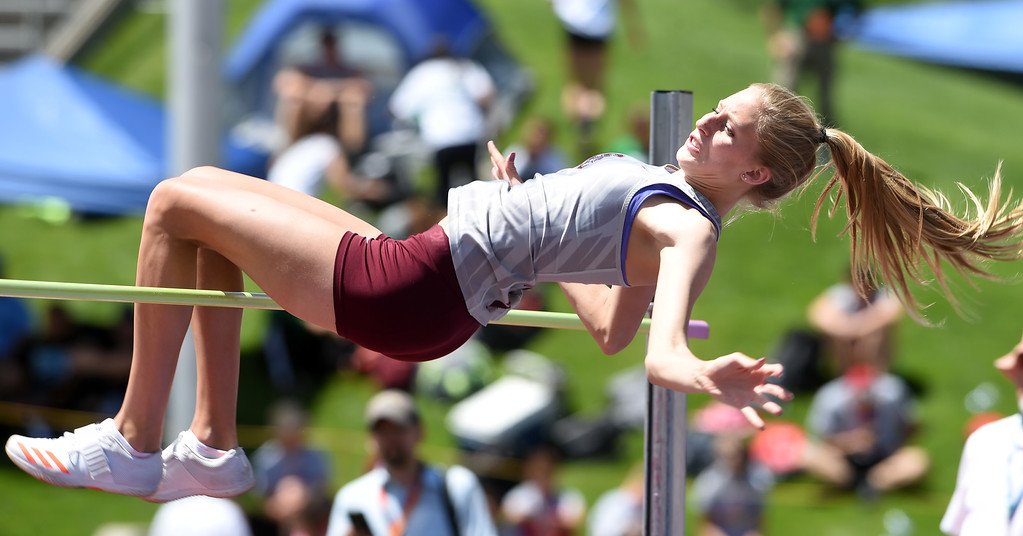 . Rylee Anderson, of Silver Creek, wins the 4A high jump for the fourth time during her career at the  Colorado State Track and Field in Lakewood on Thursday. For more photos, go to BoCoPreps.com.  Cliff Grassmick / Staff Photographer/ May 17, 2018