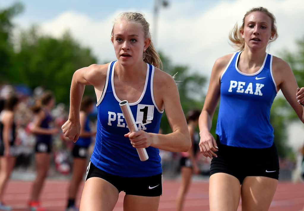 . The Peak to Peak Charter School\'s 4x800 relay work to clench the state title during the 3A CHSAA State Track & Field Championships on Thursday at the Jeffco Stadium in Lakewood. More photos: BoCoPreps.com Jeremy Papasso/ Staff Photographer 05/17/2018