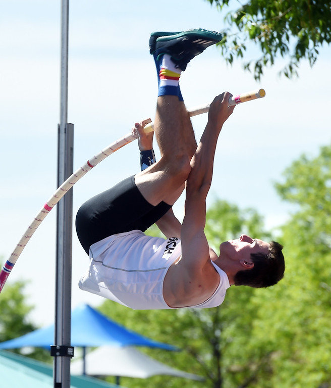 . Max Manson, of Monarch, had a great day in the 5A pole vault, winning state and breaking his father Pat\'s record that stood since 1986.  For more photos, go to BoCoPreps.com.  Cliff Grassmick / Staff Photographer/ May 17, 2018