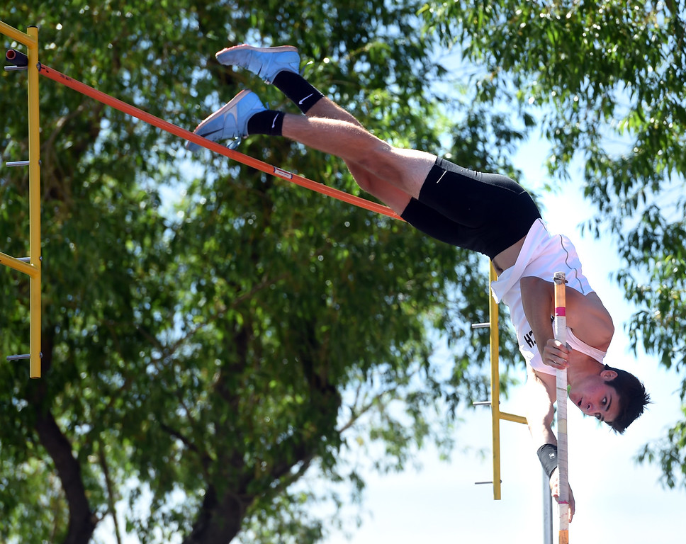 . Cole Rowan, of Monarch, competes in the 5A pole vault during Colorado State Track and Field in Lakewood on Thursday. For more photos, go to BoCoPreps.com.  Cliff Grassmick / Staff Photographer/ May 17, 2018