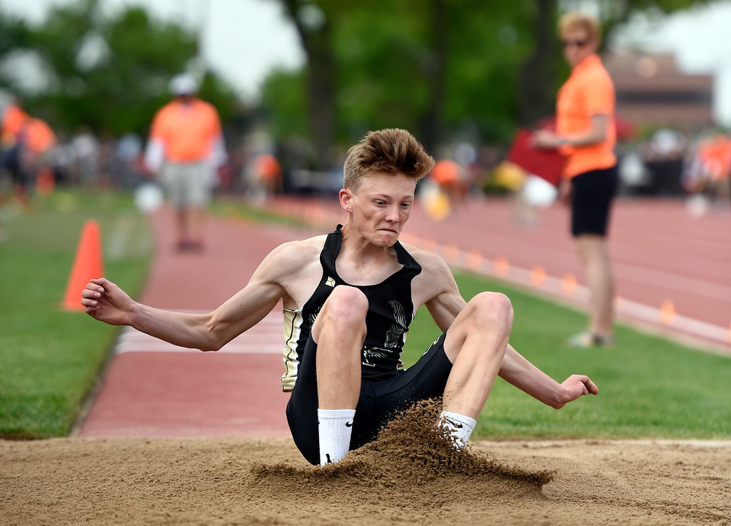 . Jefferson Academy School\'s Zace Buckhold competes in the triple jump during the CHSAA State Track & Field Championships on Thursday at the Jeffco Stadium in Lakewood. More photos: BoCoPreps.com Jeremy Papasso/ Staff Photographer 05/17/2018