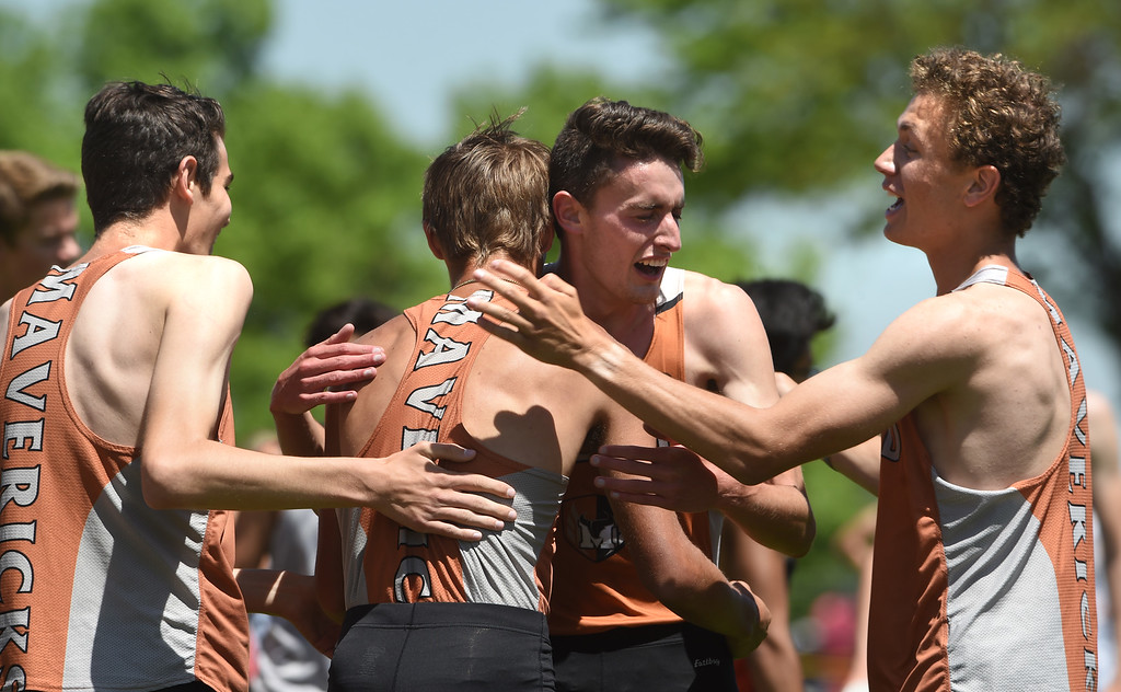 . Mead wins the 4A 4X800 relay during Colorado State Track and Field in Lakewood on Thursday. For more photos, go to BoCoPreps.com.  Cliff Grassmick / Staff Photographer/ May 17, 2018