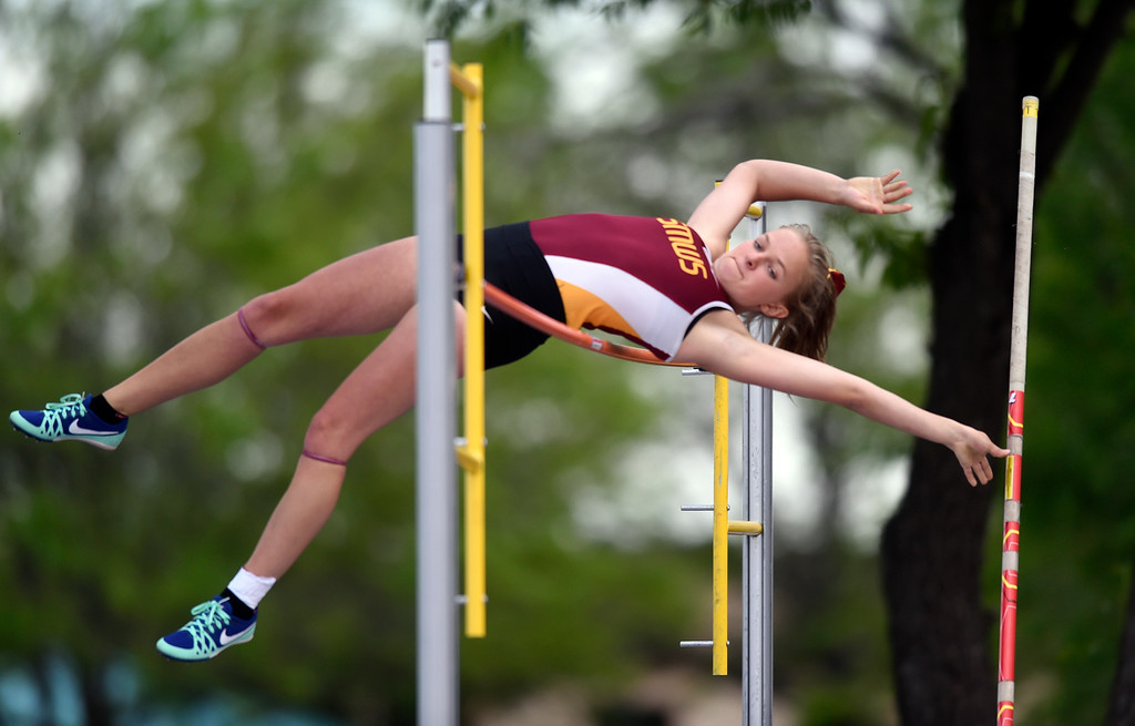 . Shining Mountain Waldorf School\'s Marina Flandrick clears the bar in the 2A pole-vaulting event during the CHSAA State Track & Field Championships on Thursday at the Jeffco Stadium in Lakewood. More photos: BoCoPreps.com Jeremy Papasso/ Staff Photographer 05/17/2018