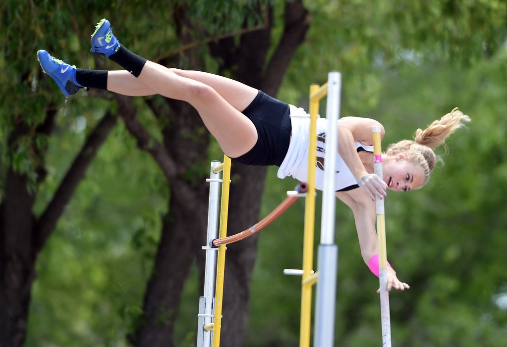 . Mia Manson, of Monarch, competes the the pole vault during Colorado State Track and Field in Lakewood on Thursday. For more photos, go to BoCoPreps.com.  Cliff Grassmick / Staff Photographer/ May 17, 2018
