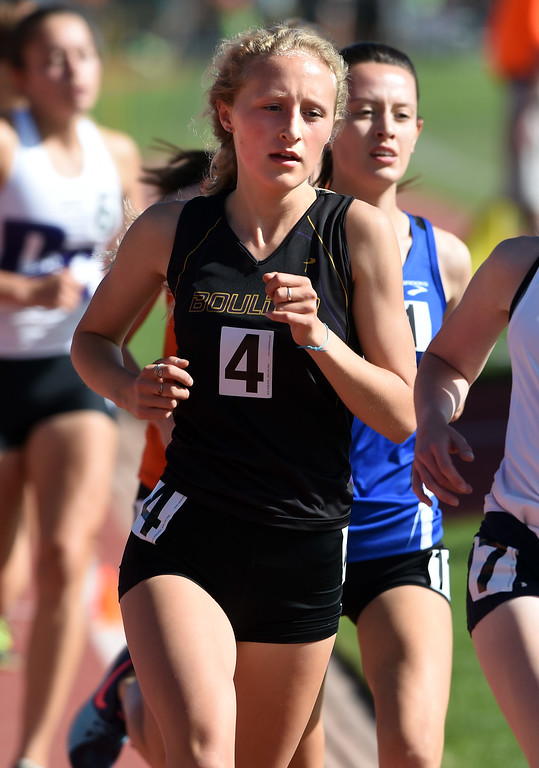 . Claudia Burgess, of Boulder High, was third in the 5A 3200 meters during Colorado State Track and Field in Lakewood on Thursday. For more photos, go to BoCoPreps.com.  Cliff Grassmick / Staff Photographer/ May 17, 2018