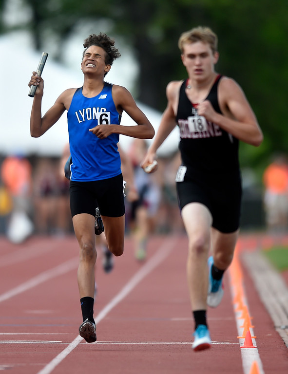 . Lyons High School\'s Colton Jonjak Plahn crosses the finish line to clench the 2A 4x800 relay title during the CHSAA State Track & Field Championships on Thursday at the Jeffco Stadium in Lakewood. More photos: BoCoPreps.com Jeremy Papasso/ Staff Photographer 05/17/2018