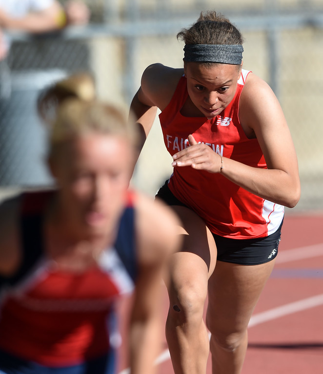 . Marley Davis-Martin, of Fairview, starts the 800 meter sprint relay during Colorado State Track and Field in Lakewood on Thursday. For more photos, go to BoCoPreps.com.  Cliff Grassmick / Staff Photographer/ May 17, 2018