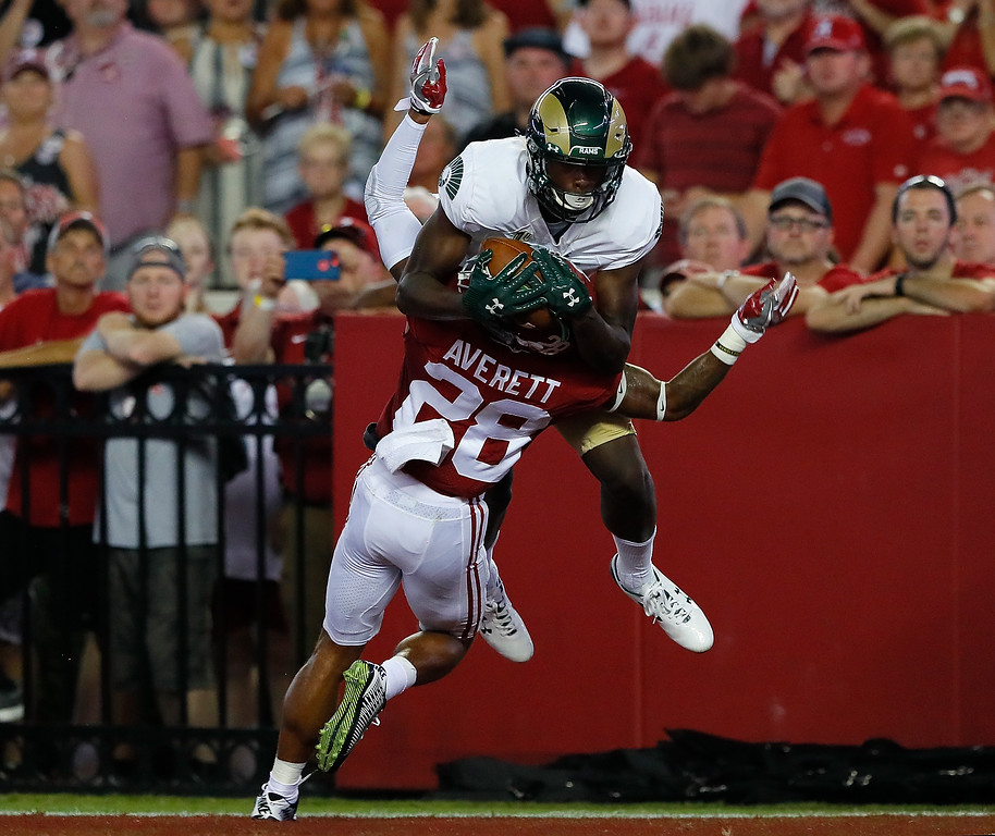 . TUSCALOOSA, AL - SEPTEMBER 16:  Warren Jackson #9 of the Colorado State Rams pulls in this touchdown reception against Anthony Averett #28 of the Alabama Crimson Tide at Bryant-Denny Stadium on September 16, 2017 in Tuscaloosa, Alabama.  (Photo by Kevin C. Cox/Getty Images)
