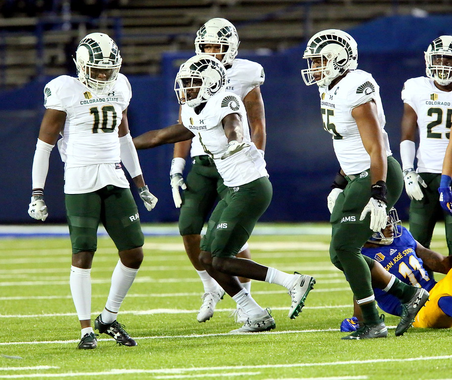 . Rashad Ajayi of Colorado State celebrates a pass breakup during Saturday\'s game with San Jose State at CEFCU Stadium. (Ron Fried/For the Reporter-Herald)
