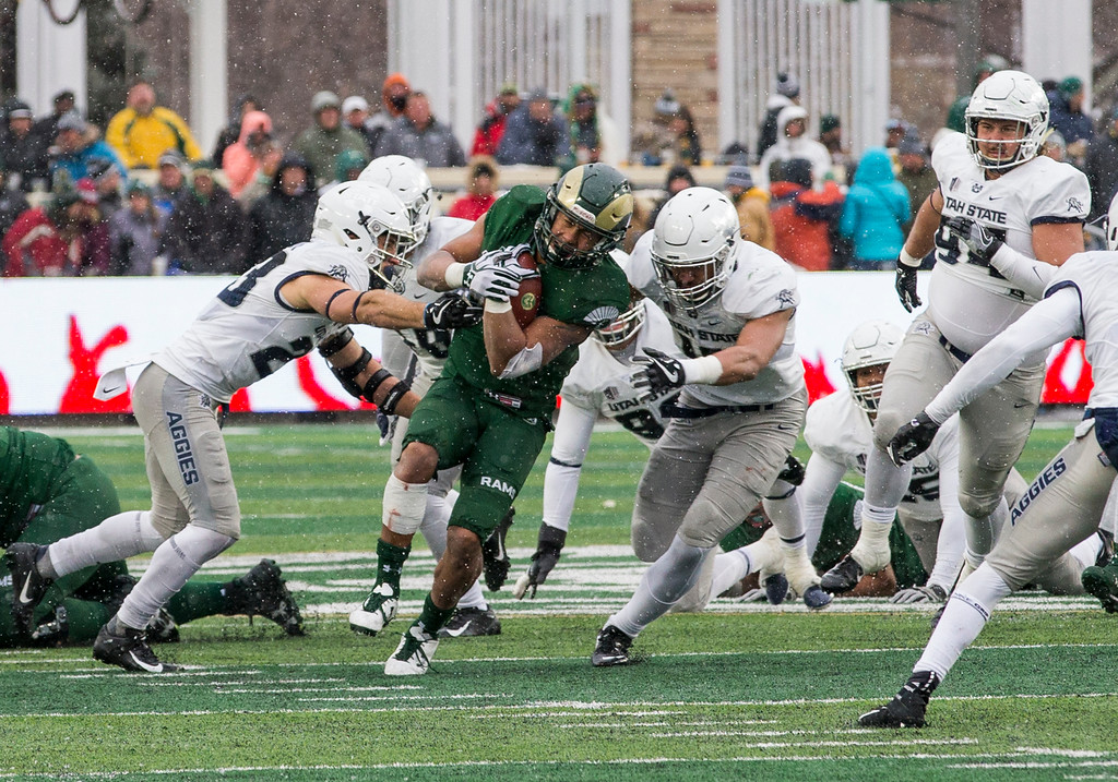 . Colorado State running back Izzy Matthews (24) breaks into the open late in the fourth quarter against Utah State Saturday afternoon Nov., 17, 2018 at Canvas Stadium in Fort Collins. (Michael Brian/For the Reporter-Herald)
