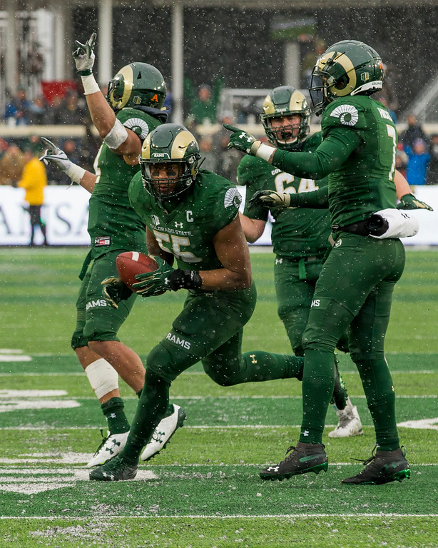 . Colorado State players celebrate Josh Watson\'s (55) kickoff fumble recovery late in the fourth quarter against Utah State Saturday afternoon Nov., 17, 2018 at Canvas Stadium in Fort Collins. (Michael Brian/For the Reporter-Herald)
