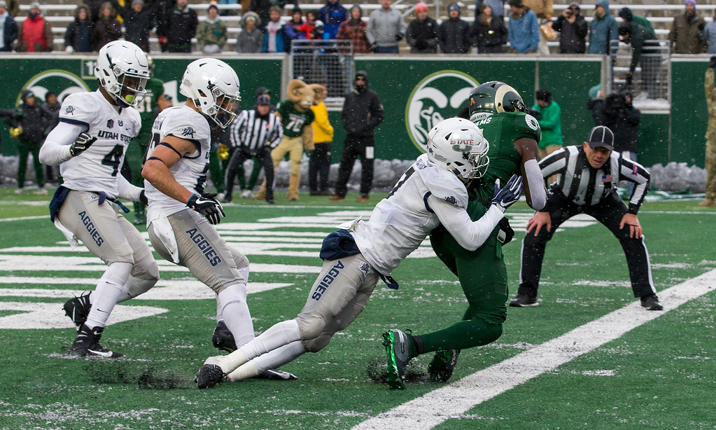 . Colorado State wide receiver Preston Williams (11) gets both feet down for touchdown catch against Utah State to tie the game at 23-23 Saturday afternoon Nov., 17, 2018 at Canvas Stadium in Fort Collins. (Michael Brian/For the Reporter-Herald)