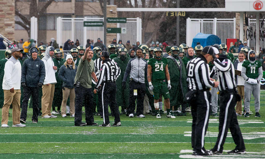 . Colorado State head coach Mike Bobo argues a penalty call against his team late in the fourth quarter against Utah State Saturday afternoon Nov., 17, 2018 at Canvas Stadium in Fort Collins. (Michael Brian/For the Reporter-Herald)