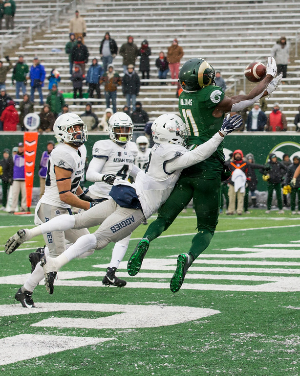 . Colorado State wide receiver Preston Williams (11) pulls in a touchdown catch against Utah State to tie the game at 23-23 Saturday afternoon Nov., 17, 2018 at Canvas Stadium in Fort Collins. (Michael Brian/For the Reporter-Herald)