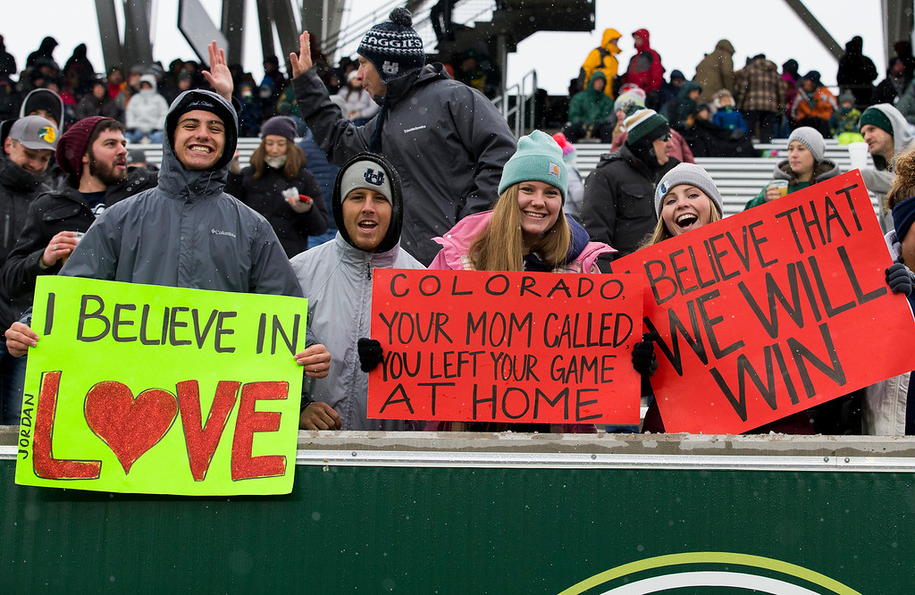 . Colorado State fans brave the cold to see their team face Utah State Saturday afternoon Nov., 17, 2018 at Canvas Stadium in Fort Collins. (Michael Brian/For the Reporter-Herald)