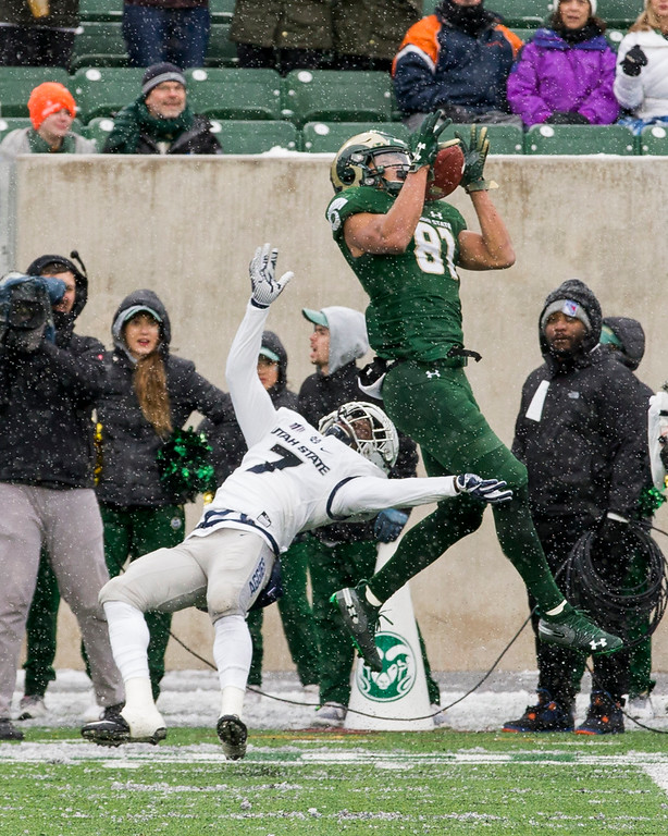 . Colorado State wide receiver Olabisi Johnson (81) makes a deep catch against Utah State\'s D.J. Williams (7) Saturday afternoon Nov., 17, 2018 at Canvas Stadium in Fort Collins. (Michael Brian/For the Reporter-Herald)